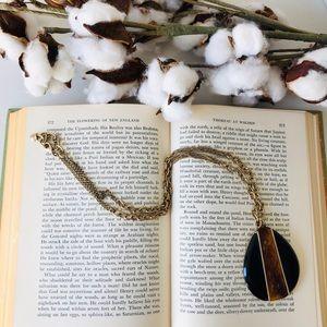 Lauren Conrad teardrop onyx and tortoise pendant